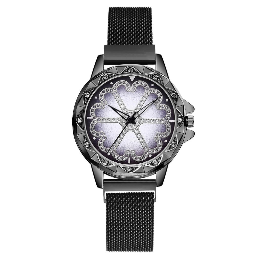 Luxury women watch magnet stainless steel diamond female luminous shining quartz relogio mujer