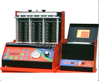6 Cylinder Fuel Injector Test Equipment Include Ultrasonic Fuel Injector Cleaner Red Color