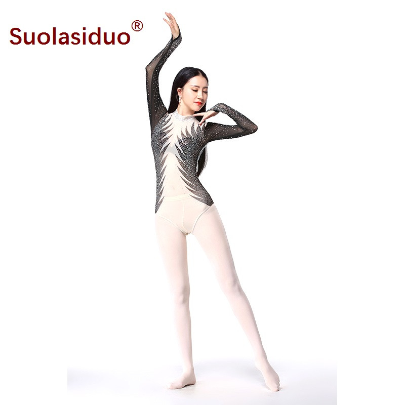 Fitness Dance Tops Female Ballet Yoga Gymnastic Practice Clothes Long sleeved with Fake Diamond Decorated One piece Mesh Tops