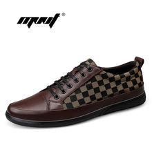 Купить с кэшбэком Classic Comfortable Men Casual Shoes Loafers Plus Size Men Shoes Quality Leather With Canvas Shoes Men Flats Moccasins Shoes