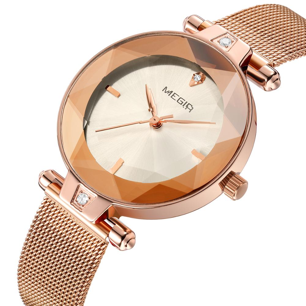 Femmes montre MEGIR Top marque de mode de luxe strass montre pour femmes dames montre-bracelet horloge Reloj Mujer Relogio Feminino