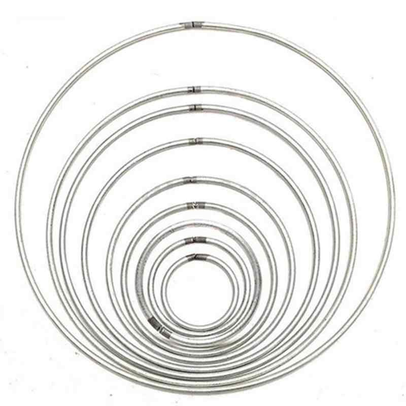 1Pcs Multi-size Simple Round Silver Metallic Metal Hoop Ring For DIY Manual Handmade Wicker Crafts Tool Material Accessories