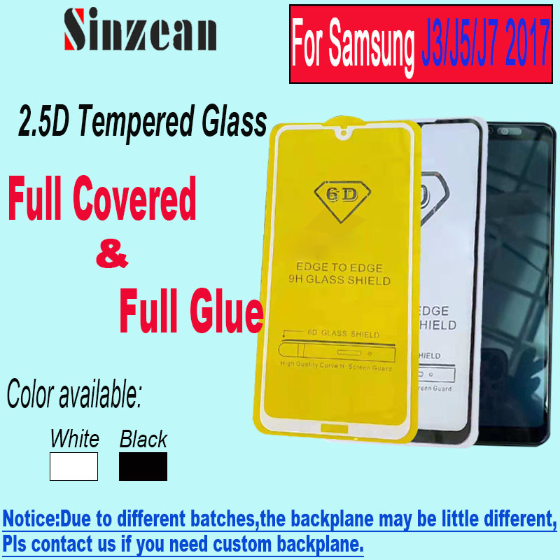 Sinzean 100pcs 2 5D Full Glue Tempered Glass for Samsung J5 J7 2017 Full Cover 5D