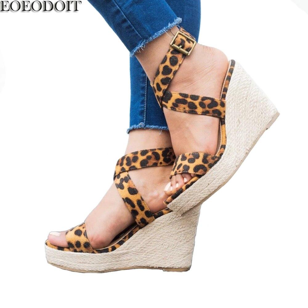 Cuñas Zapatos Tacón 42 rosy Gladiador Verano Talón Leopardo Más Sandalias Eoeodoit Alto Red Azul Abierta 43 leopard Mujeres Punta Tamaño dWfqpd8w