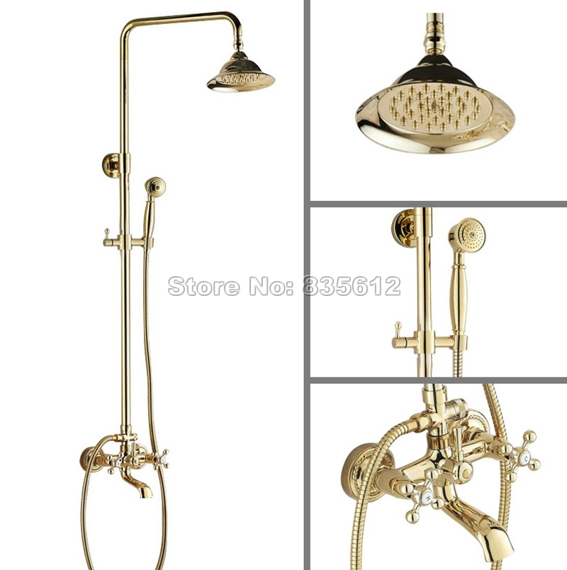 Bathroom Wall Mounted Gold Color Brass Rain Shower Faucet Set Dual Cross Handles Bathtub Mixer Tap + Handheld Shower Head Wgf347