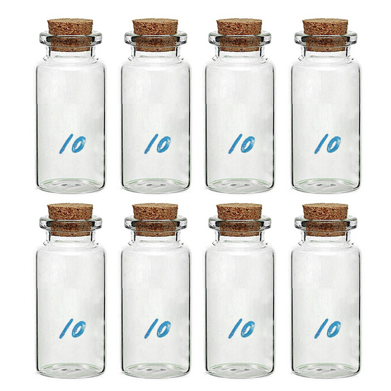 Economical 8 Pcs 10 ml Lovely Small Cork Bottle Clear Glass Bottle Wishing Bottle With Cork Stopper Colorful ds99 image