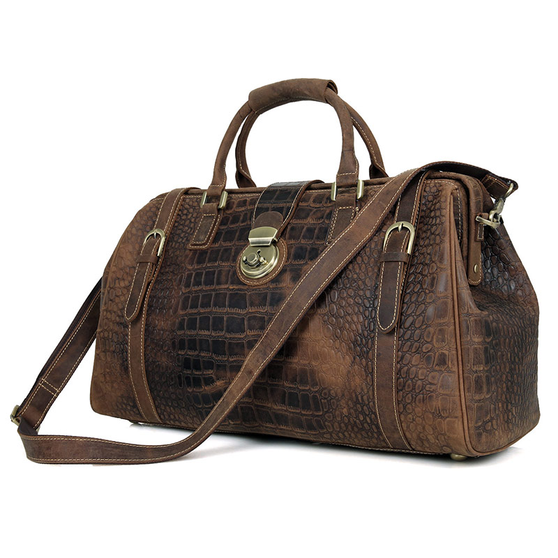 Men Cowhide Large Capacity Travel Bag Brown Unique Pattern Design Vintage Genuine Cow Leather Locked Travel Durable Duffle Bags