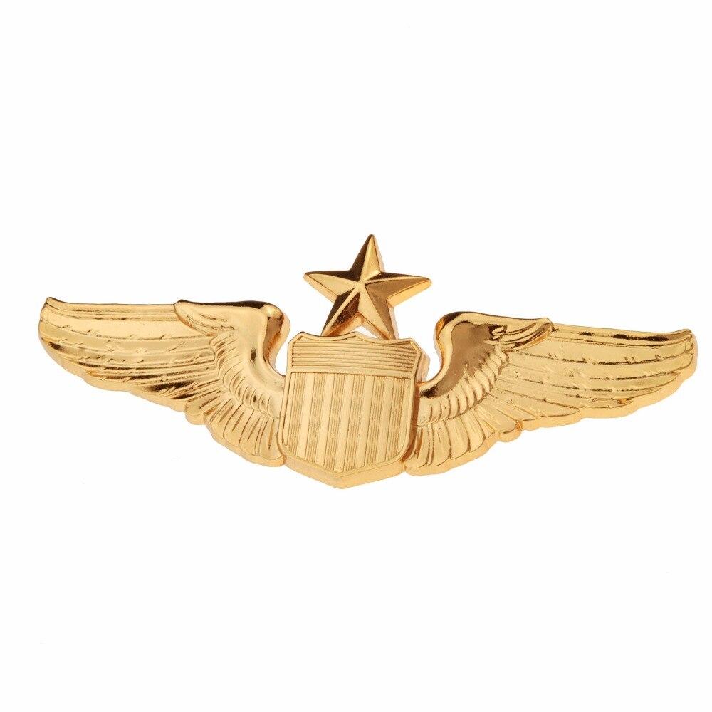 USAF U.S. AIR FORCE SENIOR PILOT METAL WING BADGE INSIGNIA GOLD