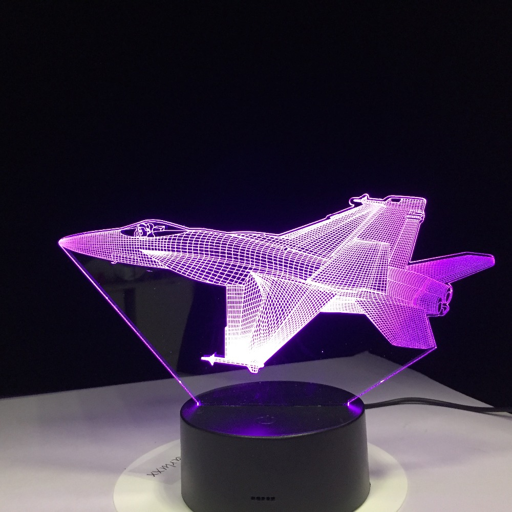 F/A-18 F16 Fighting Plane 3D Lamp light Fighter Jet Kit Remote Switch Small Night Light Colored lights Bedroom Table Lamp
