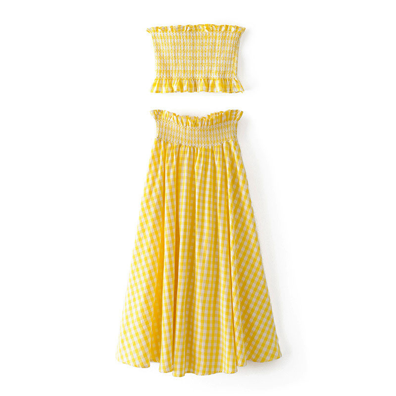 Popular Yellow Black Plaid Skirt-Buy Cheap Yellow Black Plaid ...