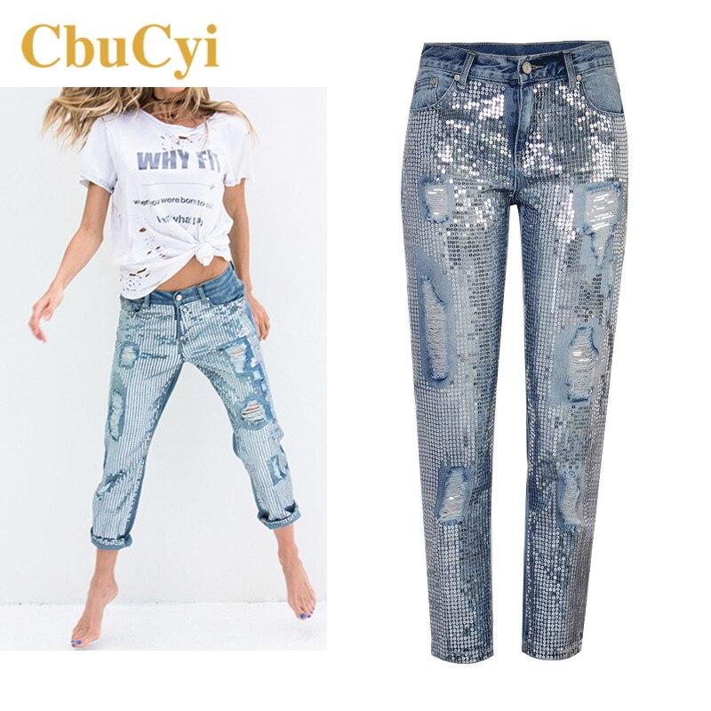 CbuCyi nowe modne ubrania damskie luźne proste dżinsy cekinowe myte spodnie dżinsowe z dziurami kobiece spodnie na co dzień dżinsy bawełniane 1