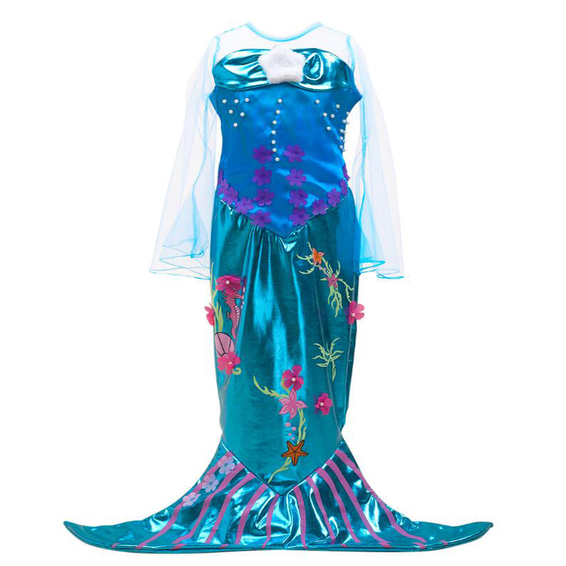 The Little Ariel Princess Mermaid Tail Costume Girls Halloween Cosplay Dress Fancy Party Classical Children Mermaid Tails Kids