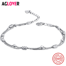 лучшая цена AGLOVER 100% 925 Sterling Silver Fashion Women's Jewelry Double Chain Beads Bracelet 20cm For Gift Girls Lady Free Shipping