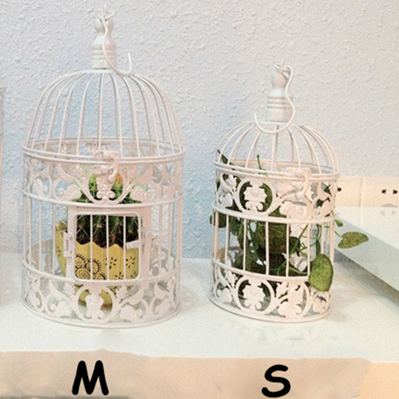 Hand Made Fashion Large Antique Decorative Bird Cages Classic Iron Birdcage  For Wedding Decoration Free Shipping