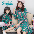 2017 mom and daughter dress family matching mother fashion print bow mother and daughter dress clothes summer dress