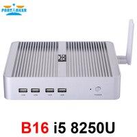 Причастником B16 DDR4 безвентиляторный мини ПК Intel Core i5 8250U i7 8550U 32 ГБ оперативная память ГБ 512 SSD оконные рамы 10 4 ядра мини ПК HDMI UHD графика