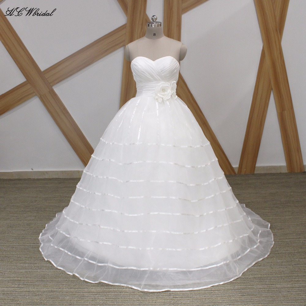 New 2019 Ball Gown Wedding Dress Strapless Backless Puffy Tulle Princess Bridal Gowns Cheap Custom Made Wedding Dresses