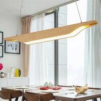 Nordic Creative Personality Dining Room Pendant Light Rectangular Post modern Studio Light Office Light Solid Wood Led Lamp