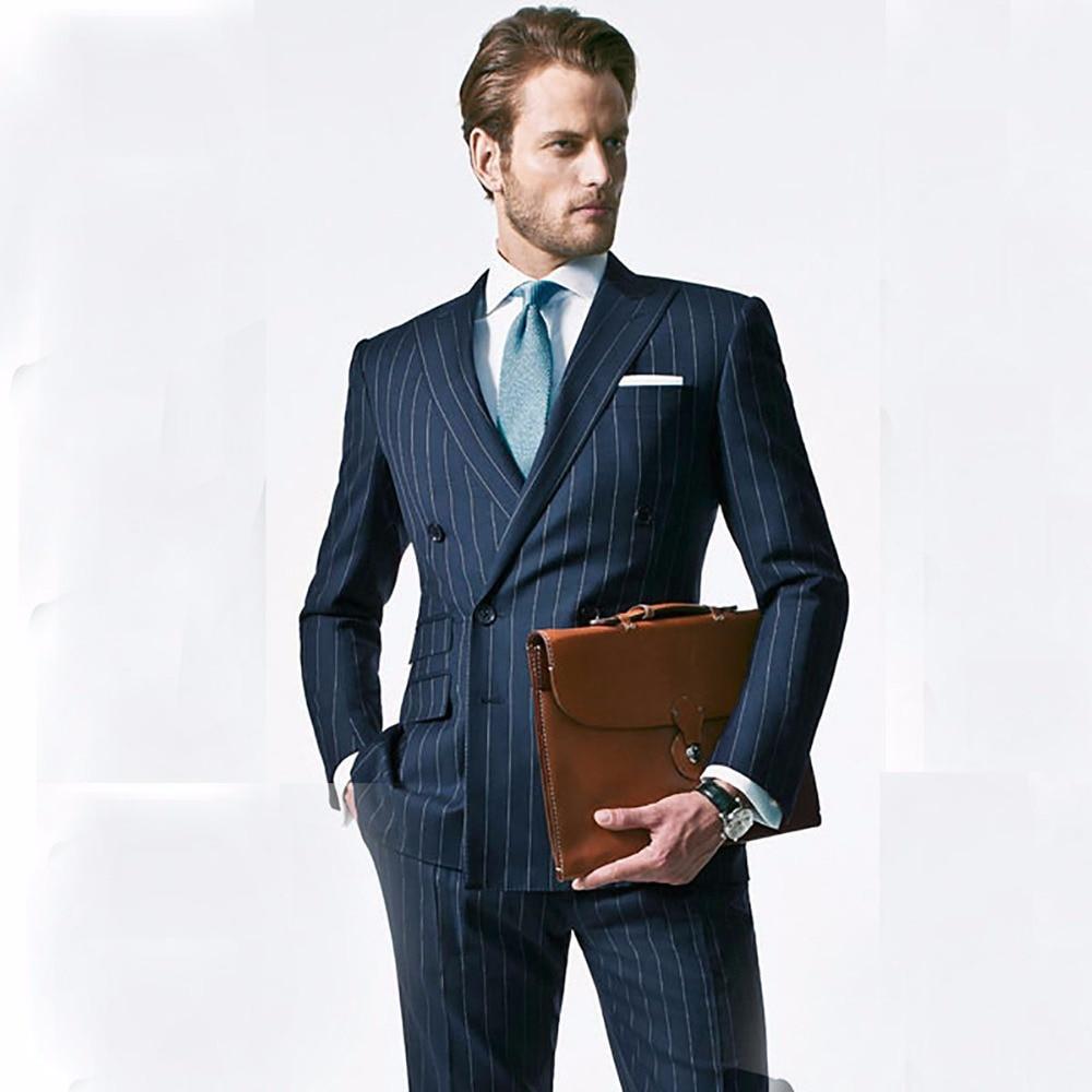 Chalk Stripe Men Suit Custom Made Navy Blue Mens Striped Suit ...