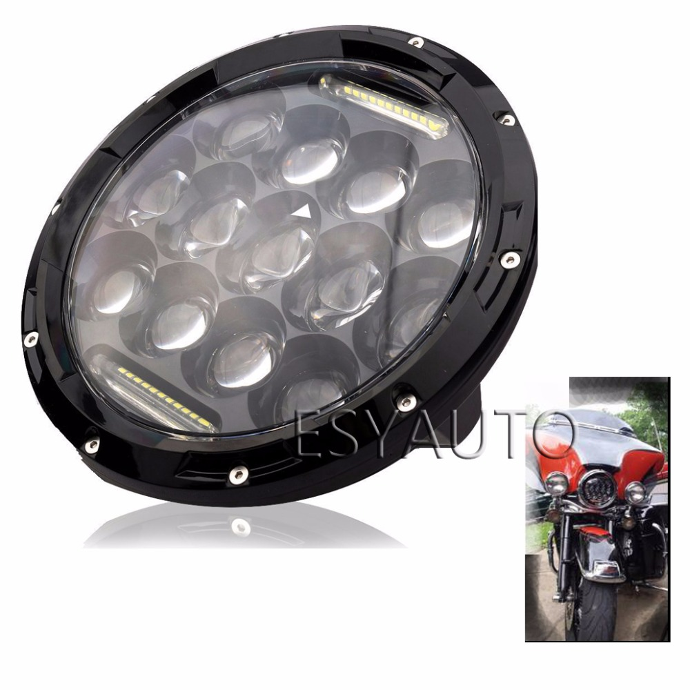 ФОТО 7inch 75W Round LED Headlight 7500LM Hi/Low Beam Head Light with Bulb DRL for wrangler TJ LJ JK CJ-7 CJ-8 Scrambler Harley