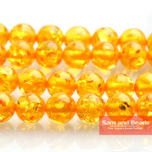 Бесплатная доставка, синтетический натуральный камень, желтый круглый свободный бисер Ambers, 16 дюймов, нитка 8, 10, 12 мм, размер на выбор для изго...