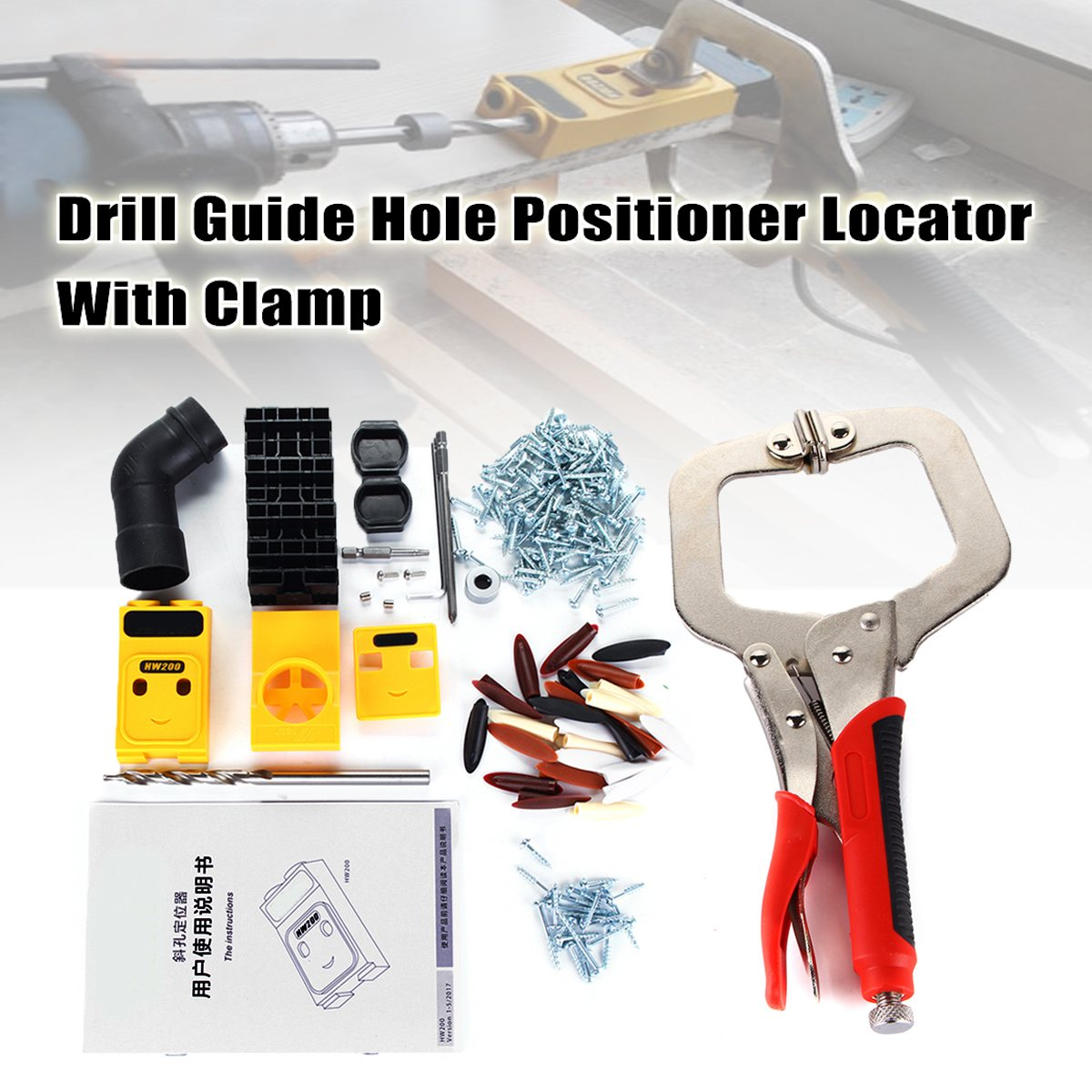 New Pocket-Hole Jig Drill Guide Hole Positioner Locator with Clamp Woodworking Tool Kit  Suitable for Joining Panel Furniture woodworking tool pocket hole jig woodwork guide repair carpenter kit system with toggle clamp and step drilling bit kreg type
