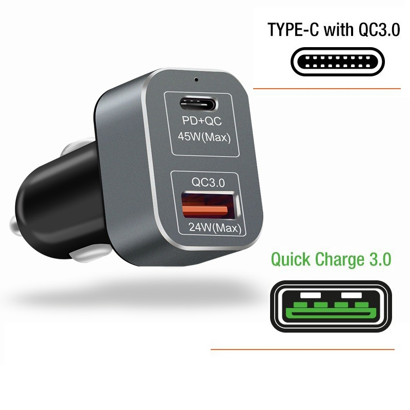 QuTiger 2 Port USB PD Car Charger Type-C 45W Power Delivery Quick Auto Charge QC3.0 Fast Car-Charger for iPhone x Samsung Xiaomi