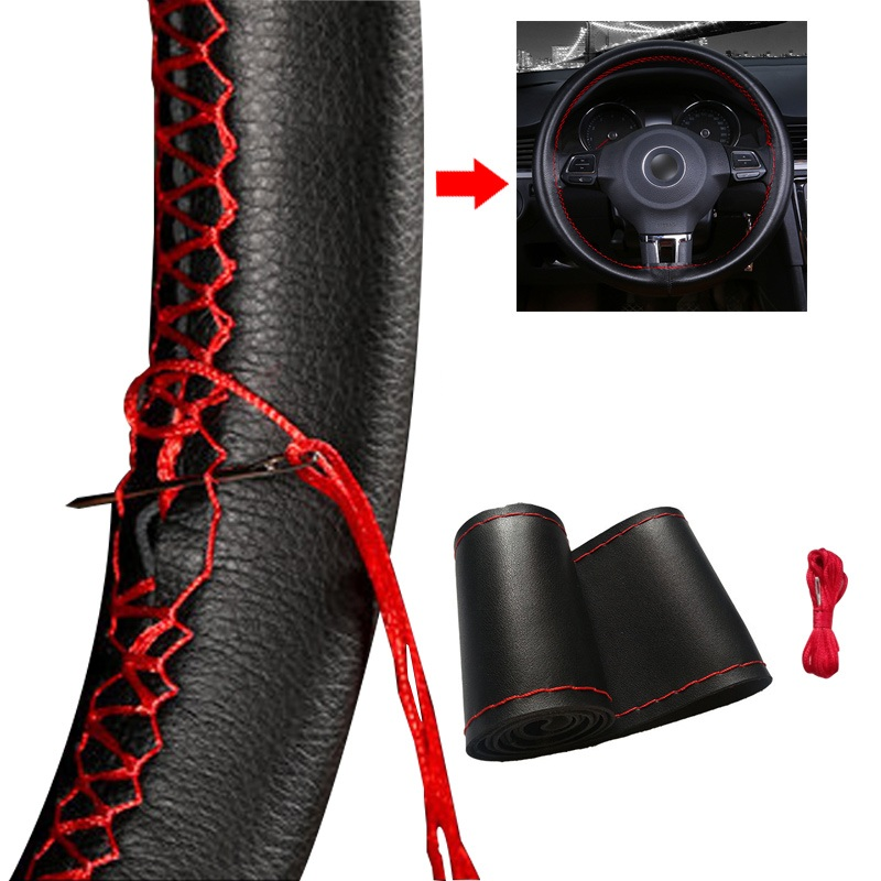 Universal Car Steering Wheel Cover Fiber Leather With Soft Anti-Slip Black DIY Braid & Needles Thread Fit For 38cm Diameter(China)