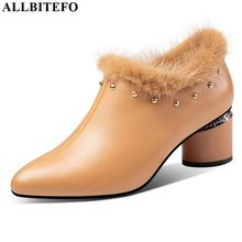 ALLBITEFO hot sale genuine leather women heels Pure color high heel shoes Autumn Winter fashion sexy ladies high heels