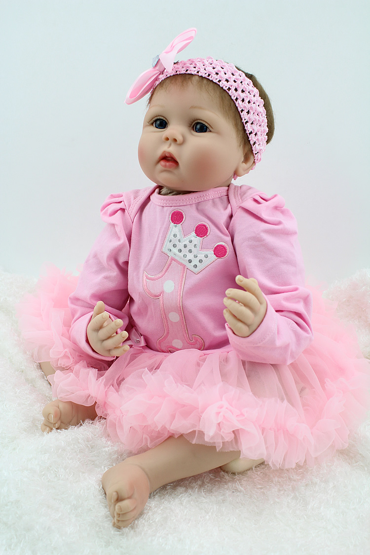 Handmade Bonecas Doll 22 Inch Lifelike Soft Silicone