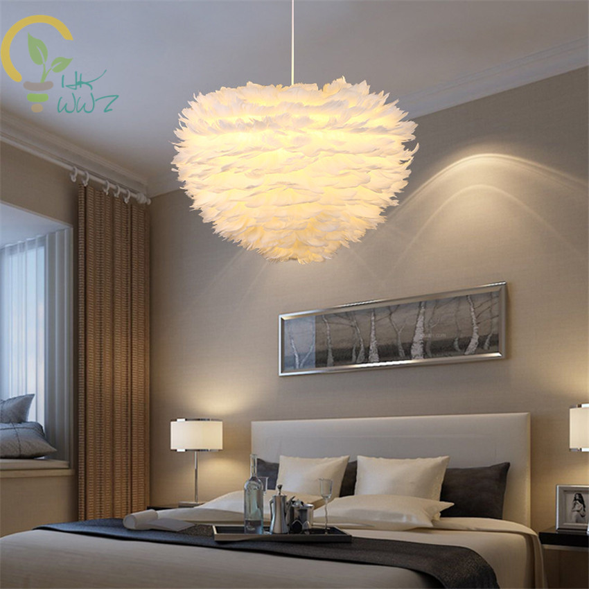 Modern Led Pendant Light Romantic Dreamlike Feather Droplight Bedroom Hanging Lamp Lamparas E27 110-240VModern Led Pendant Light Romantic Dreamlike Feather Droplight Bedroom Hanging Lamp Lamparas E27 110-240V