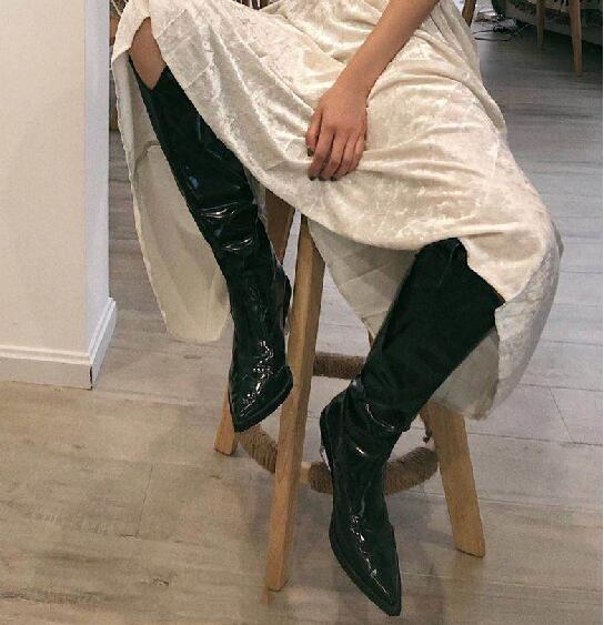 New 2019 Spring Black/Green Patent Leather Pointed Toe V Shape Open Slip On Transparent Wedge 85 mm Heels Knee High Long Boots - 5
