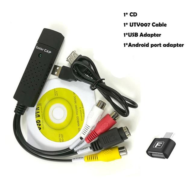 USB 2,0 Easycap captura 4 canales Video TV DVD VHS Audio Captura tarjeta adaptador más fácil Cap USB dispositivo de captura de vídeo apoyo Win10