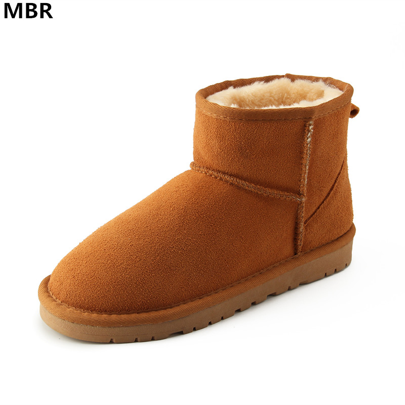 MBR Brand Women Snow Boots 100% Genuine Cowhide Leather Ankle Boots Warm Waterproof Winter Boots Woman Shoes large size 34-44