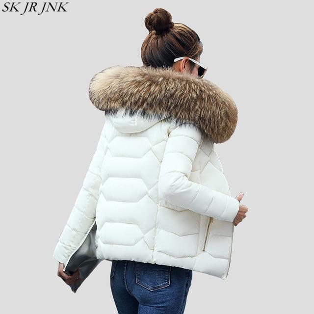 צווארון פרווה חם סלעית לעבות מעיילים קצרים 2017 Slim Fit אופנה נשים מעיל מרופד החורף מזדמן בתוספת גודל צמר גפן מעיל WFY165
