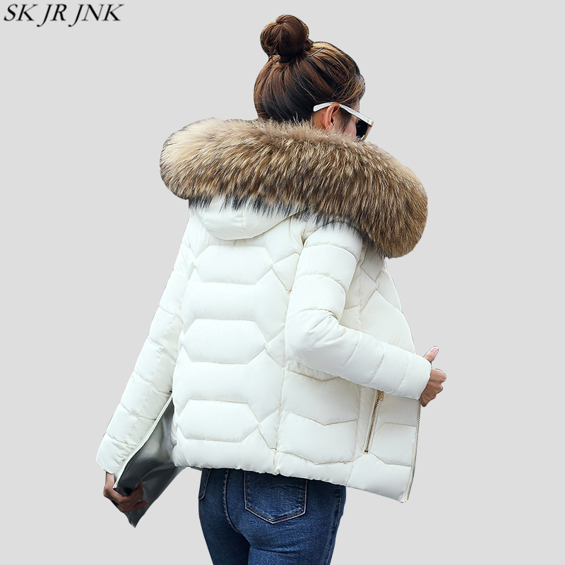 Warm Fur Collar Hooded Thicken Short Parkas 2017 Slim Fit Fashion Women Padded Jacket Winter Casual