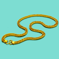 Fashion Men's Gold Necklace 24k gold whip necklace design 8mm60cm size men's charm jewelry Good quality not allergic best gift
