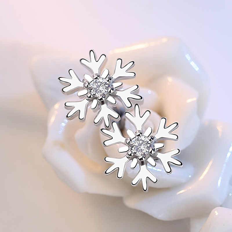 Simple 925 Sterling Silver Snowflake Earrings For Women Zircon Christmas Earrings Gift oorbellen S-E267