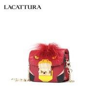 LACATTURA Luxury Handbag Cartoon Animal Print Women Leather Shoulder Bag Mini Chain Messenger Bags Lady Purse