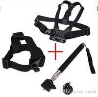 Accesorios Gopro Chest Correa + head mount strap + maneje monopod Para sj4000 cámara gopro hero 2 3 3 + 4 xiaomi yi xiaoyi aee