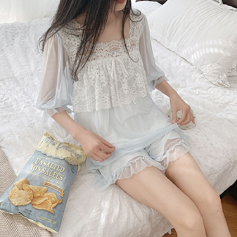 High Quality Women's White Lace Modal Pajamas Sets Summer Gauze Shorts Pyjamas Vintage Princess Sleepwear Home Clothes
