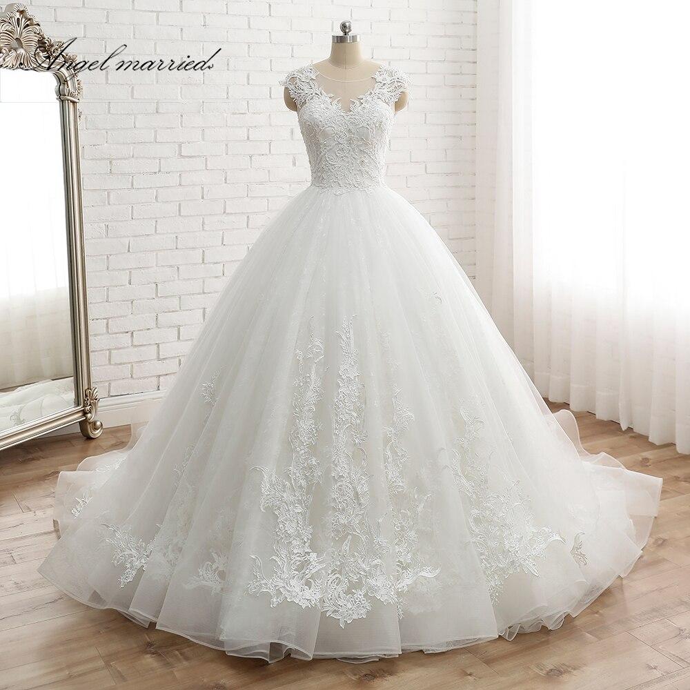 Ange marié robe de noiva Cap Manches de Femmes Vintage Dentelle Robe De Mariée Custom Made Princesse Dentelle Robe De Mariage appliques