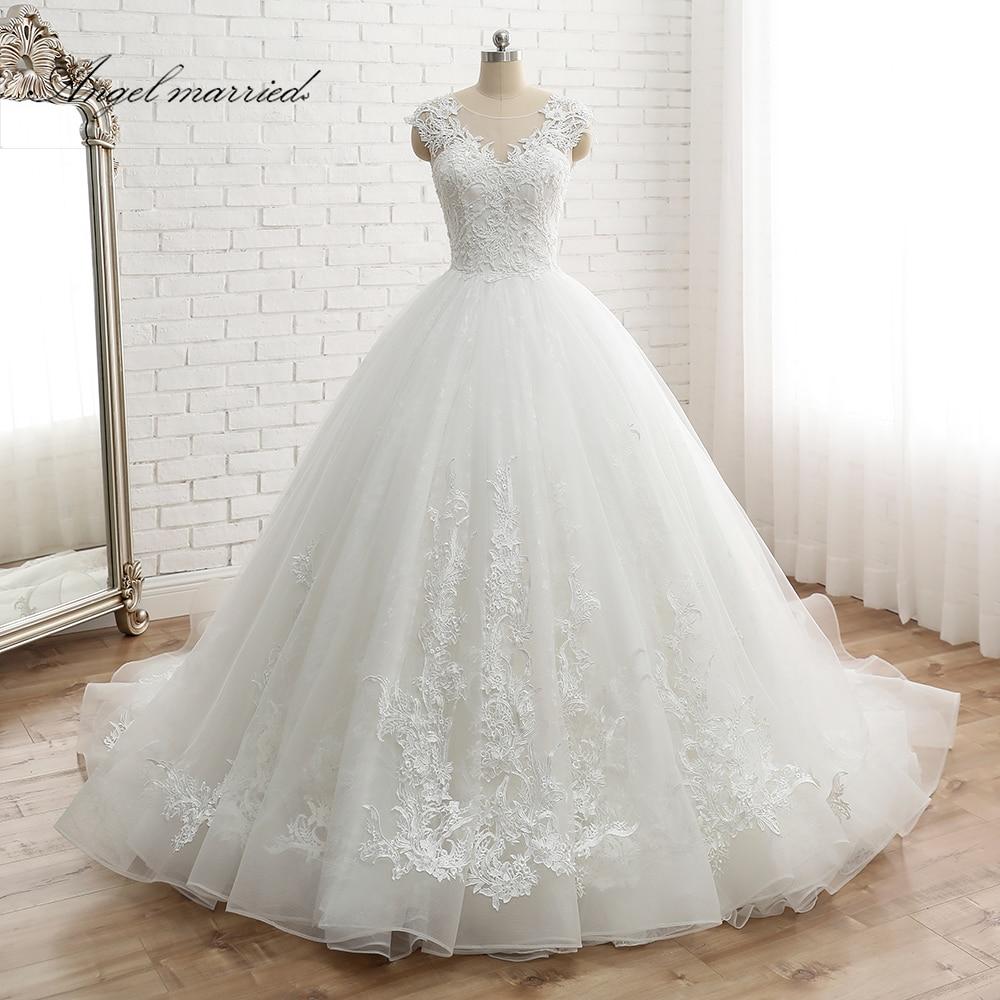 Angel Married Vestido De Noiva Women's Cap Sleeve Vintage Lace Bridal Dress Custom Made Princess Lace Wedding Dress Appliques