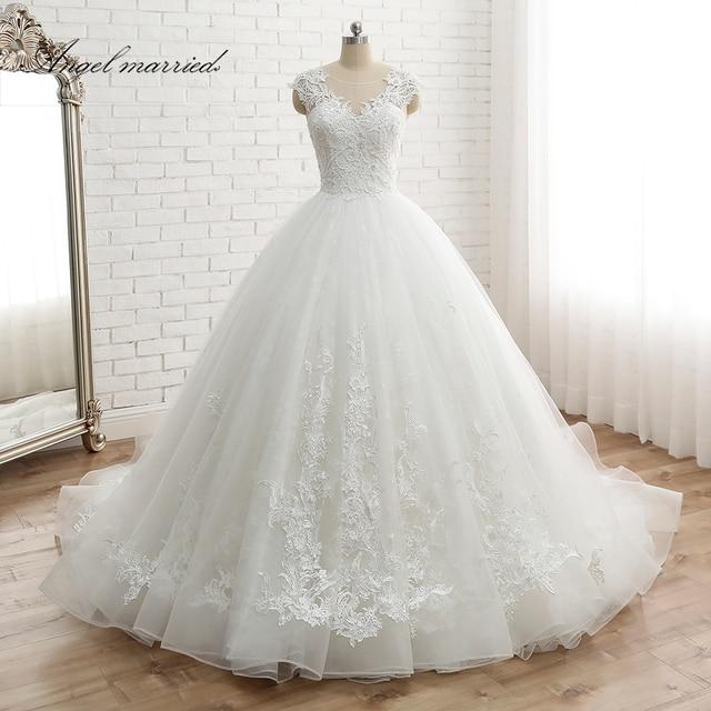 מלאך נשוי vestido דה noiva נשים של כובע שרוול בציר תחרה כלה שמלת תפור לפי מידה נסיכת תחרה חתונה שמלת אפליקציות