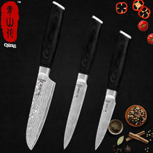 "QING Damascus Knives 5"" Santoku & Utility Cleaver 3.5"" Paring High Carbon Japanese Damascus Fruit Cutter Sushi Kitchen Cleaver(China)"