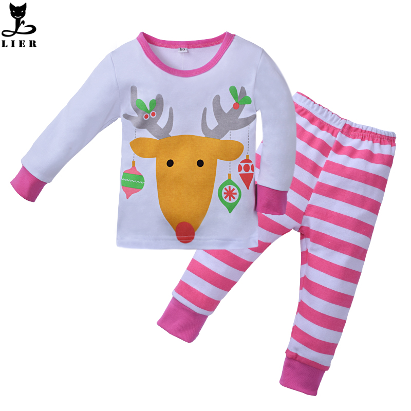 Kids Christmas Pajamas Set Little Girls Cartoon Reindeer Pijamas Suits Baby Girl Full Sleepwear Children's Pyjamas pyjama fille 2016 christmas suit 0 3y newborn toddler kids girls boys reindeer homewear nightwear sleepwear pajamas set 2pcs
