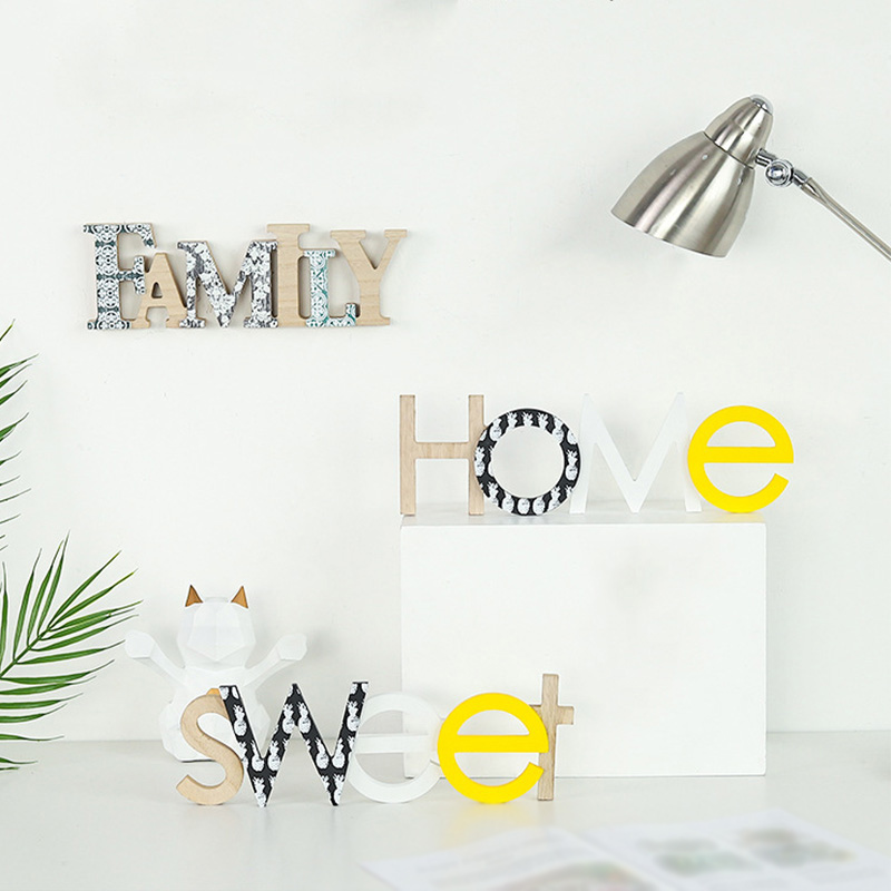 Nordic Wooden Home/Family Logo Wall Art Kindergarten Decoration Children Room Decoration Wedding Party Home Decoration Letters