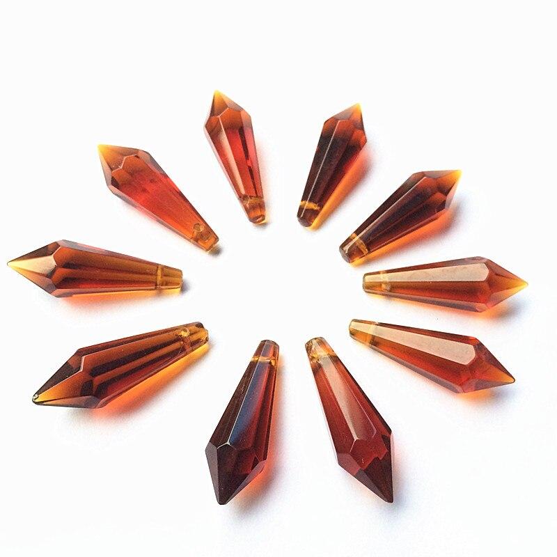 K9 Хрустальная люстра подвески призмы(бесплатное кольцо) многоцветная огранка и граненое стекло 36 мм u-сосулька капли для украшения торта - Цвет: Brown