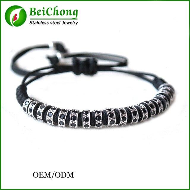 fe38bd46a Fashion Anil Arjandas macrame bracelet, silver rose gold black CZ lock  beads Weave macrame bracelet men jewelry