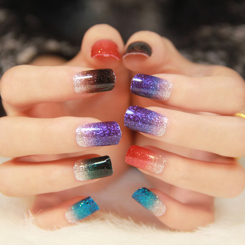 1sheet 12stickes gradient glitter nail stickers Full cover bride ...
